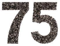 Arabiskt tal 75, sjuttiofem, från svart ett naturligt kol, Fotografering för Bildbyråer