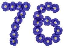 Arabiskt tal 76, sjuttiosex, från blåa blommor av lin, isola Royaltyfria Bilder