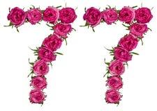 Arabiskt tal 77, sjuttiosju, från röda blommor av steg, isolator Royaltyfri Fotografi