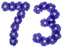 Arabiskt tal 73, sjuttiotre, från blåa blommor av lin, iso Royaltyfri Foto