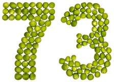 Arabiskt tal 73, sjuttiotre, från gröna ärtor som isoleras på w Arkivfoto