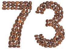 Arabiskt tal 73, sjuttiotre, från kaffebönor som isoleras på Royaltyfri Foto