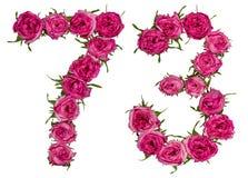 Arabiskt tal 73, sjuttiotre, från röda blommor av steg, isolator Royaltyfria Foton
