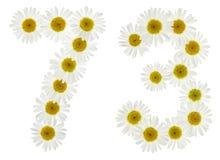 Arabiskt tal 73, sjuttiotre, från vita blommor av chamomil Arkivbild