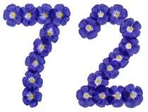 Arabiskt tal 72, sjuttiotvå, från blåa blommor av lin, isola Royaltyfri Bild