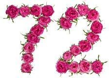 Arabiskt tal 72, sjuttiotvå, från röda blommor av steg, isolat Arkivbild