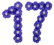Arabiskt tal 17, sjutton, från blåa blommor av lin, isolat Fotografering för Bildbyråer
