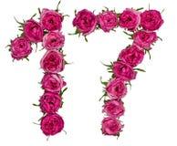 Arabiskt tal 17, sjutton, från röda blommor av steg, isolerat Arkivbild