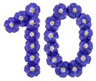 Arabiskt tal 10, tio, från blåa blommor av lin som isoleras på w Arkivfoto
