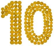Arabiskt tal 10, tio, från gula blommor av tansyen, isolerade nolla Royaltyfri Bild