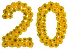 Arabiskt tal 20, tjugo, från gula blommor av smörblomman, iso Arkivbilder