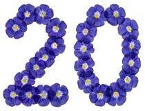 Arabiskt tal 20, tjugo, två, från blåa blommor av lin, isola Arkivbilder