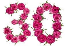 Arabiskt tal 30, trettio, från röda blommor av steg, isolerat på royaltyfria foton