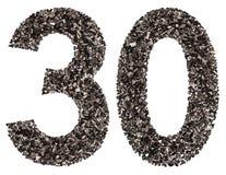 Arabiskt tal 30, trettio, från svart ett naturligt kol, isolat arkivfoto