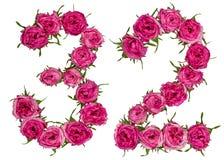 Arabiskt tal 32, trettiotvå, från röda blommor av rosen, isolat Arkivfoto