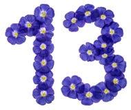 Arabiskt tal 13, tretton, från blåa blommor av lin som isoleras Arkivbild