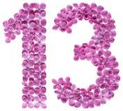 Arabiskt tal 13, tretton, från blommor av lilan som isoleras på Fotografering för Bildbyråer