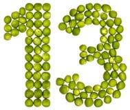 Arabiskt tal 13, tretton, från gröna ärtor som isoleras på vit Arkivbilder