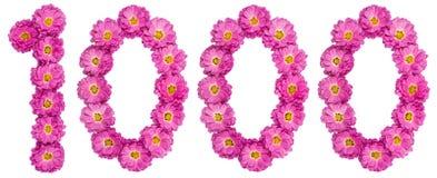 Arabiskt tal 1000, tusen, från blommor av krysantemumet Arkivbild