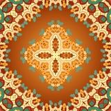 Arabiskt tryck för brunt och för orange färgseamles Arkivfoton
