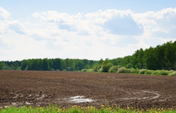 Arable. Tractor plowed field in the spring morning Royalty Free Stock Photo