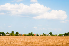 Arable. Tractor plowed field in the spring morning Stock Image