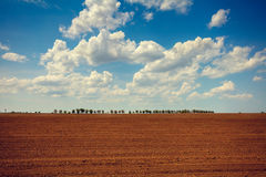 Arable field with cloudy sky and sun. Arable field in a sunny day with cloudy sky and sun. Plowed field in Tuscany Stock Photography