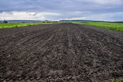 Arable field farm. Agricultural landscape of spring arable and green areas Royalty Free Stock Image