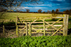 Arable field gate Royalty Free Stock Image