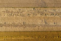 Arable fields, grain destroyed during a storm. View from a flying tourist balloon Stock Images
