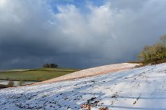 Devon field with light covering of snow Royalty Free Stock Photography