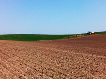 Arable land. Beautiful landscape of arable land for use as a background in advertising billboards, banners, business cards, websites related to farming and Royalty Free Stock Photo