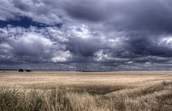 Arable land dry field with storm clouds forming Royalty Free Stock Images
