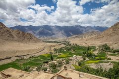 Arable land near stream among dry mountains, from Likir Monaster. Looking out from Likir Monastery over typical scenery in Ladakh, Northern India... bone dry Royalty Free Stock Image