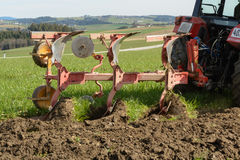 Arable land is plowed Stock Photo