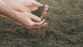 Arable land soil in hands of a responsible farmer stock video