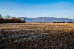 Arable land. Before the start of spring stock photography
