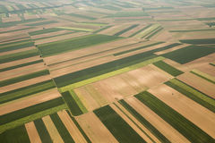Arable land in Voijvodina photographed from air. Arable land aerial photography in Vojvodina, Serbia Stock Photos