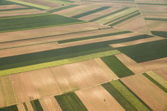 Arable land in Voijvodina photographed from air. Arable land aerial photography in Vojvodina, Serbia Stock Image