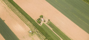 Arable land in Voijvodina photographed from air. Arable land aerial photography in Vojvodina, Serbia Stock Photography