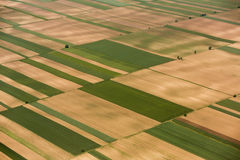 Arable land in Voijvodina photographed from air. Aerial view of the arable land in Vojvodina, Serbia Royalty Free Stock Image