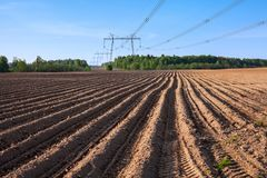 Arable land at the spring season. Agricalture in Russia Stock Images