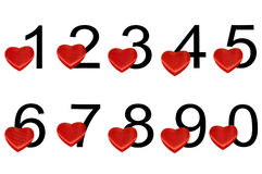 Arable numerals with hearts Royalty Free Stock Images