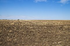 Arable soil. Black arable soil at autumn Stock Photo