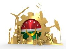 ArabMaghreb facklig flagga på kugghjulet Arkivfoton