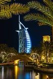 Arabo di Al di Burj alla notte Fotografia Stock Libera da Diritti
