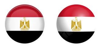 Arabrepubliken Egypten flagga under knappen för kupol 3d och på glansig sfär/boll royaltyfri illustrationer