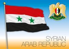 Arabrepubliken Syrien flagga och vapensköld arkivfoton