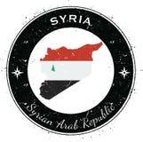 Arabrepubliken Syrien runt patriotiskt emblem Fotografering för Bildbyråer