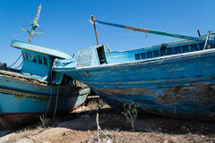 Arabs abandoned fishing boats. View of some fishing boats abandoned royalty free stock photo